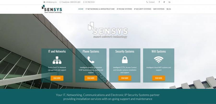 Screengrab of the Sensys homepage at www.sensys.ie