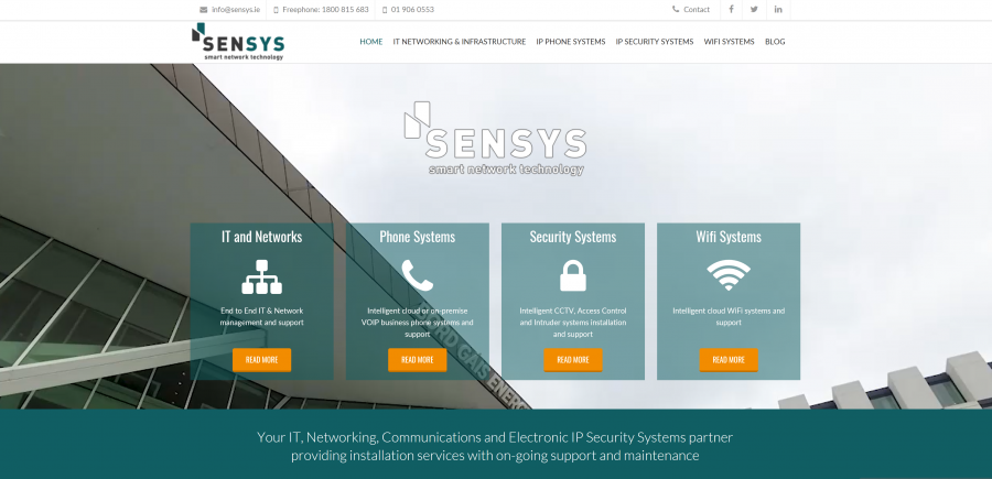 Screengrab of the Sensys homepage at www.sensys.ie